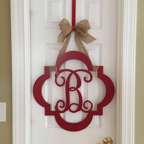 "10 1//2"" Monogrammed Exterior Or InteriorWood Door Hanger 1//4"" Thick Any Letter"