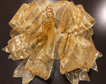 Gold Christmas Wreath Bow: Wreath Bow, Glittered Gold Sheer Ribbon Bow