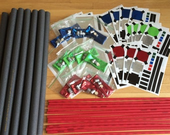 Build-Your-Own Lightsaber Party Pack; 8 or 12 Pack Lightsaber DIY Building Kits; Star Wars Inspired Lightsaber Party Favors; Star Wars Party
