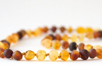 """Authentic Raw Unpolished Baltic Amber Jewelry - Necklace, Bracelet & Anklet - Rainbow Connection, sizes 7""""-24"""""""