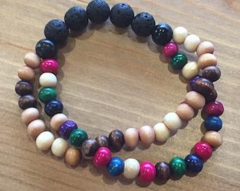 "Double Lava Stone Diffuser Jewelry, sizes 5.5"" - 8"""