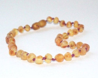 """Authentic Raw Unpolished Baltic Amber Jewelry - Necklace, Bracelet & Anklet -Medium w/TEAL or PURPLE cord, 7""""-24"""""""