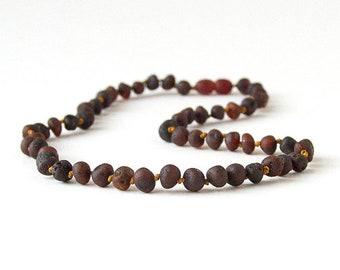 "Authentic Raw Unpolished Baltic Amber Jewelry - Necklace, Bracelet & Anklet - Dark, sizes 7""-24"""
