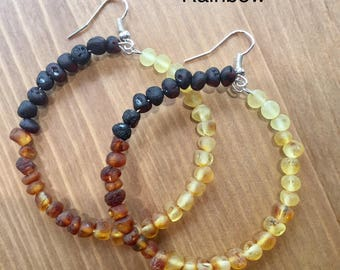 Raw Unpolished Baltic Amber LARGE Loop Earrings - for Kids & Adults - lots of colors