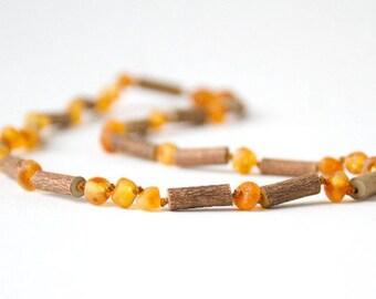 """Hazelwood with Raw Unpolished Baltic Amber Jewelry - Necklace, Bracelet & Anklet - Medium, sizes 7""""-24"""""""
