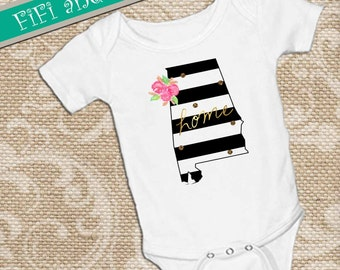 Alabama home, Black & White Strip with faux gold glitter dots, pink watercolor flower accent on White onsie Snap bottom all in one bodysuit