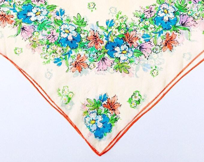 1960s Silk Blend Vera Neckerchief - Sheer Floral Scarf - Made in Japan