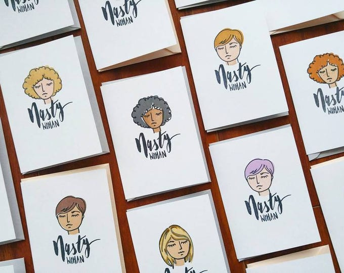 Nasty Women Greeting Card Set - Six Hand Drawn Feminist Cards - All Proceeds Donated