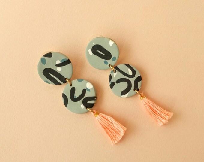 Loopy Drop Earrings with Coral Tassels - Handmade Geometric Statement Earrings