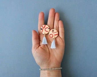 Abstract Geometric Peach & Red Earrings with Powder Blue Tassels - Handmade Polymer Clay Discs