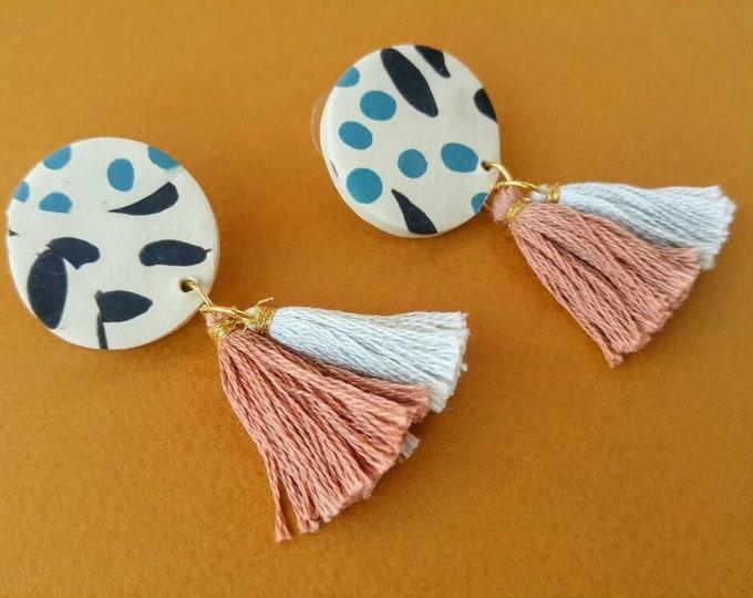 Tasseled Abstract Circle Earrings - Blue & Black Spots - Handmade