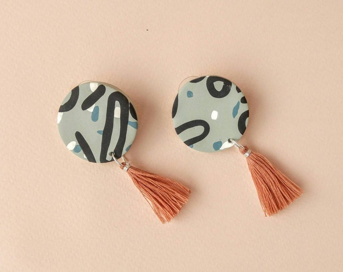 Abstract Circle Earrings with Dusty Rose Tassels - Handmade Polymer Dangle Stud Earrings