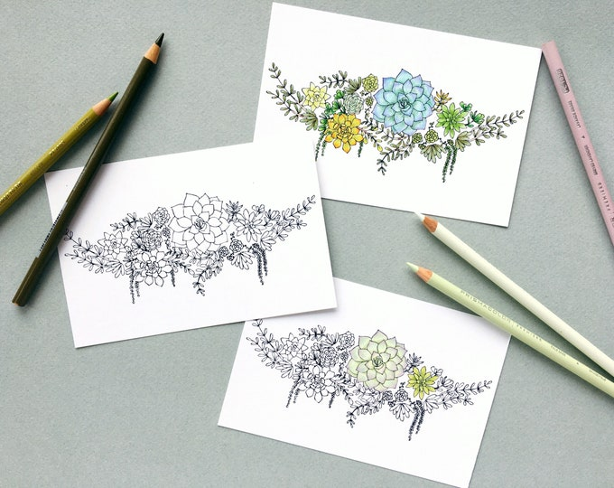 Succulent Postcards Set of 6 - Color Your Own Postcards - Greenery Arrangement Stationery