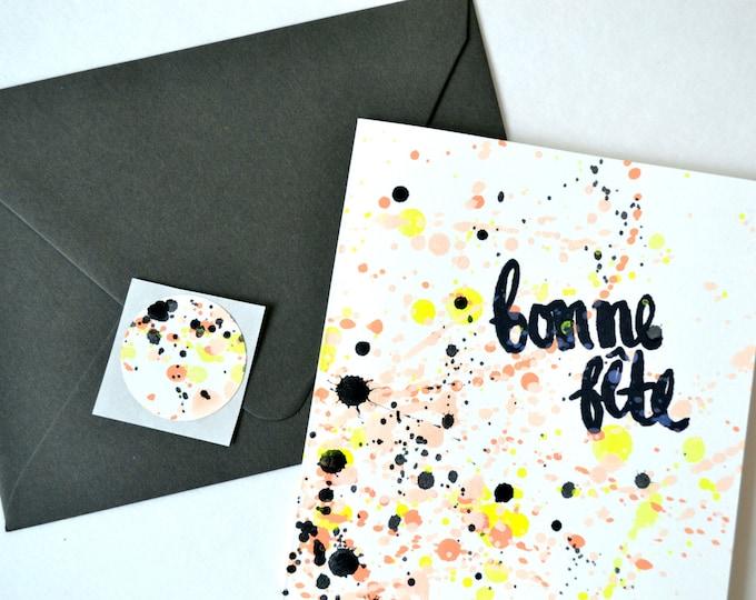 Bonne Fête French Birthday Celebration Card - Neon Yellow & Coral Splatter Paint Pattern
