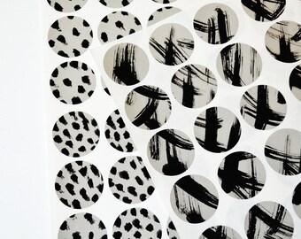 Hand Painted Brushstroke Sticker Seals - Minimalist Grey & Black - Set of 16
