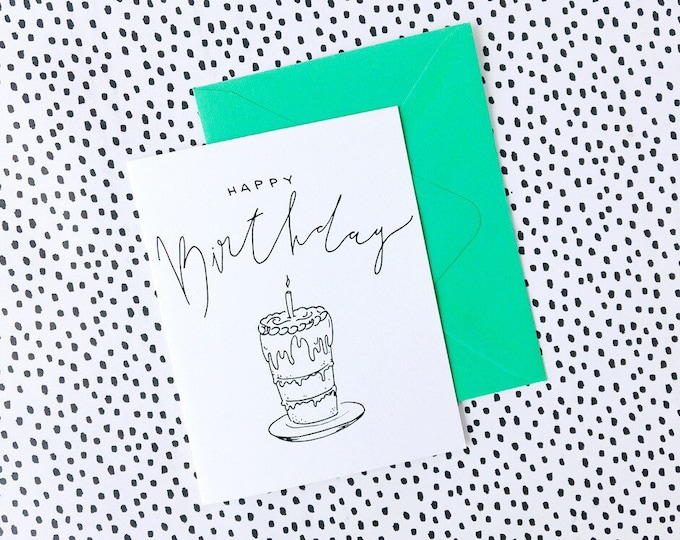 Hand Lettered Birthday Cake Card with Neon Envelope & Seal - Printed in Seattle
