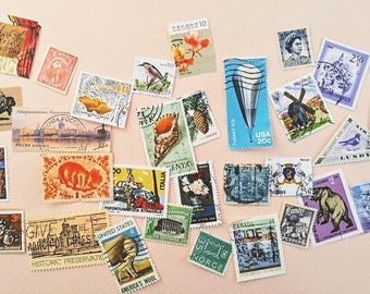 Pack of 30 Vintage Postage Stamps - Worldwide Designs - Collage Paper Ephemera