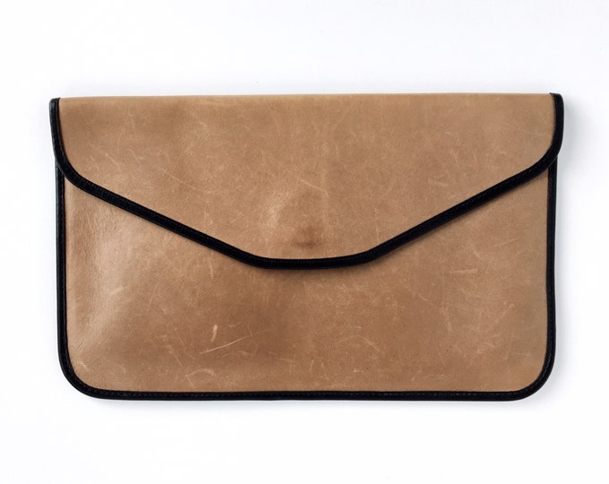 Vintage Taupe Leather Clutch with Black Trim - Michael Green Evening Bag - Made in Seattle