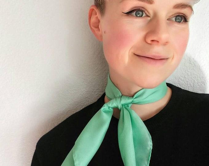 Silky Mint Green Bandana - Vintage Scarf Neckerchief - Made in Japan