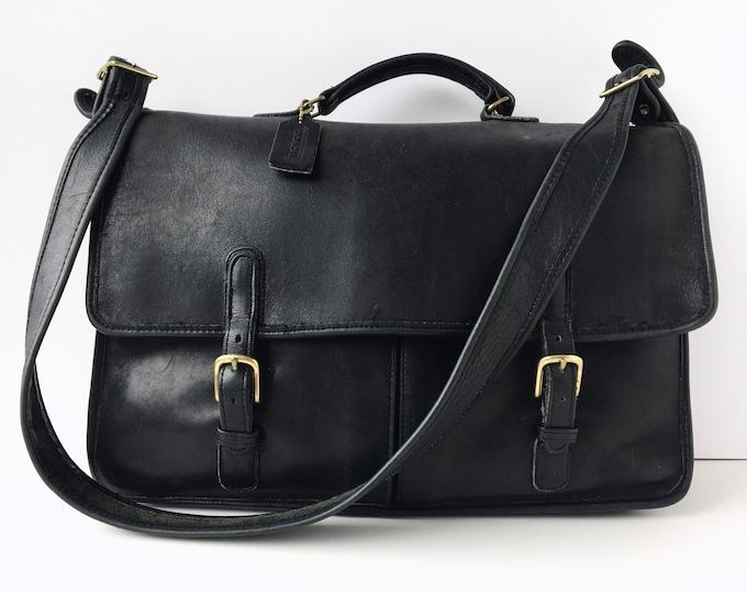 Vintage Coach Executive Briefcase -  Black Leather Messenger Bag - Style 5260