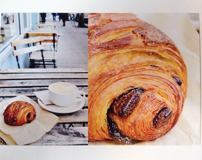 Chocolate Croissant Postcard - Seattle Coffee Shop Greetings
