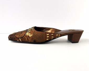 Beaded Satin Mules - Chicos Bronze Slides with Block Heels - Size 9