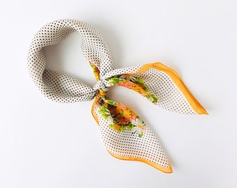 Vintage 1960s Polka Dot Kerchief with Daisies - Yellow Floral Scarf