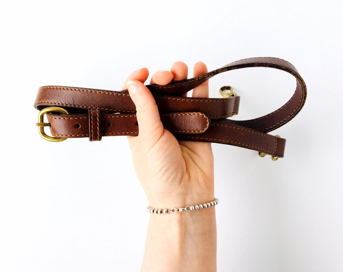 Leather Replacement Purse Strap for Vintage Dooney & Burke or Coach Bag - Brass Hardware