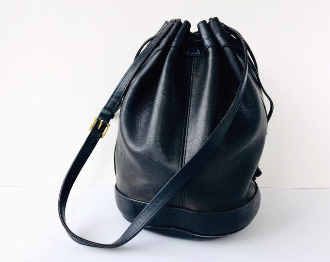 Rare Coach Drawstring Duffle Bucket Bag - Black Leather Bucket Bag - Style 4022
