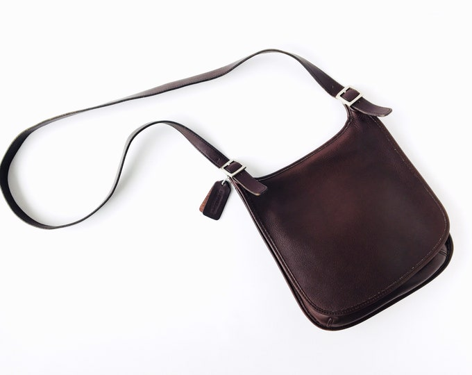 Vintage Coach Small Hippie Flap Purse - Dark Brown Leather Slim Saddle Bag - Made on the USA 9135