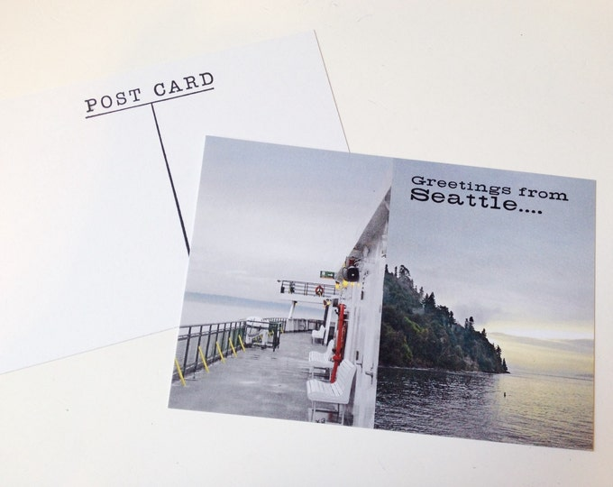 Greetings From Seattle Postcard - Scenic Puget Sound Ferry Ride