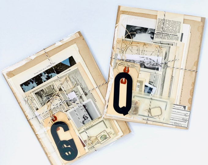 Mixed Pack of Vintage Paper Ephemera - Neutral Color Grab Bag of Book & Magazine Pages, Photos