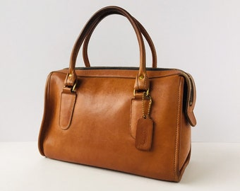 bf1035e32a9e Rare Coach Classic Satchel in British Tan Leather - Vintage Doctor Speedy  Bag Style 9880