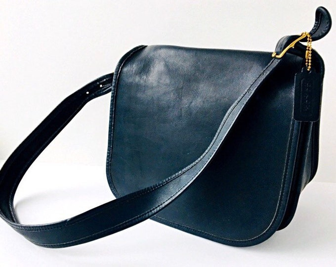 Coach Classic Shoulder Bag - Navy Blue Leather Purse Made in the USA - Style 9170