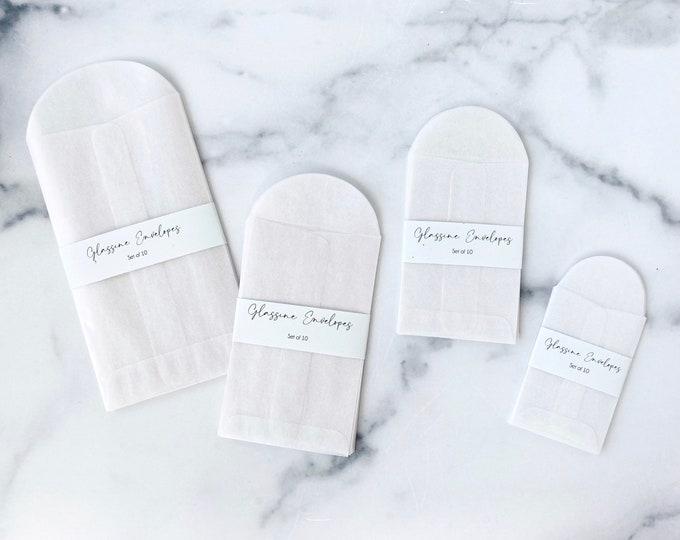 Glassine Envelopes Set of 10 • Rectangle Minimalist Packaging • Party Favor or Coin Envelope