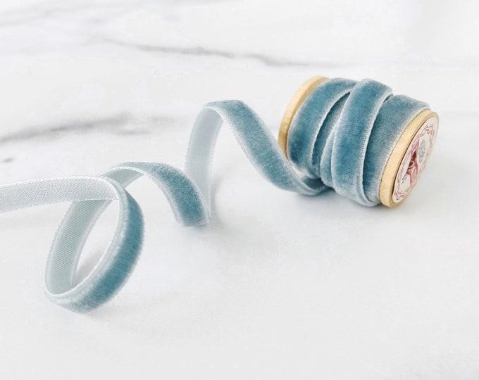 "French Blue 1/4"" Velvet Ribbon • Slate Blue Trim for Wedding Invites • By the Yard"