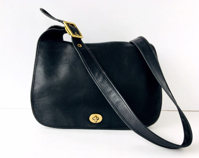 Vintage Coach Legacy Crescent Bag - Black Leather Purse with Brass Hardware - Style 9718