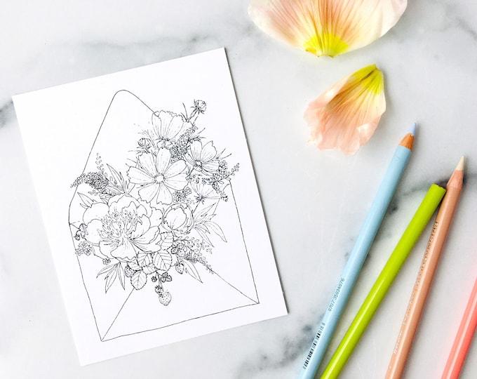 Botanical Postcard Set - 6 Hand Drawn Bouquets in Envelopes - Color Your Own Designs