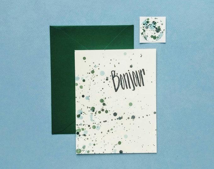 Bonjour Splatter Paint Greeting Card with Seal - Blue & Green Handmade Hello