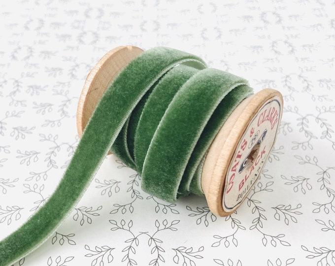 """Eucalyptus Green Velvet Ribbon • Cut to Order • Olive Arsenic Green 3/8"""" Trim"""