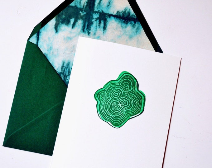 Malachite Greeting Card - Blank with Lined Envelope