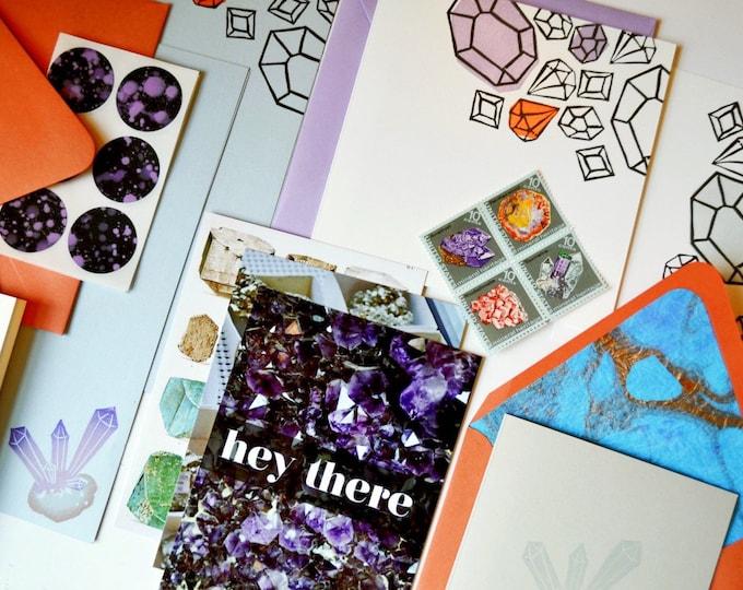 Rocks & Minerals Stationery Set - Vintage US Stamps and Lined Envelopes