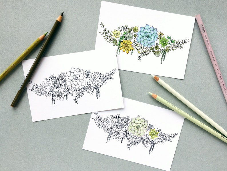 Color Your Own Postcards Greenery Arrangement Stationery Succulent Postcards Set of 6