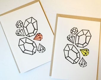 Neon Gemstone Cards - Set of 6