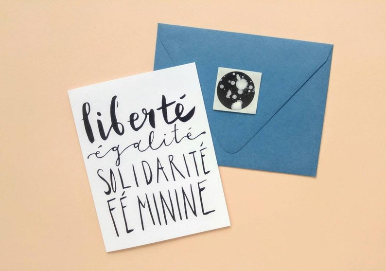 All Proceeds Donated  French Feminist Greeting Card with Seal image 0
