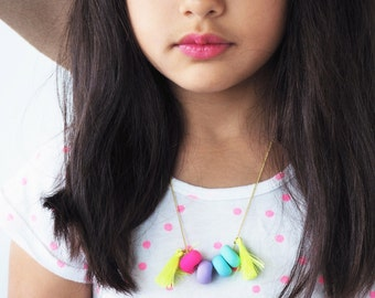 Candy Pop Clay Bead Tassel Gold Chain Necklace