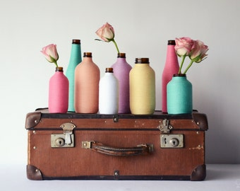 Decorative vase/bottle wrapped in pastel cotton twine - Featured in Australia House & Garden Magazine!