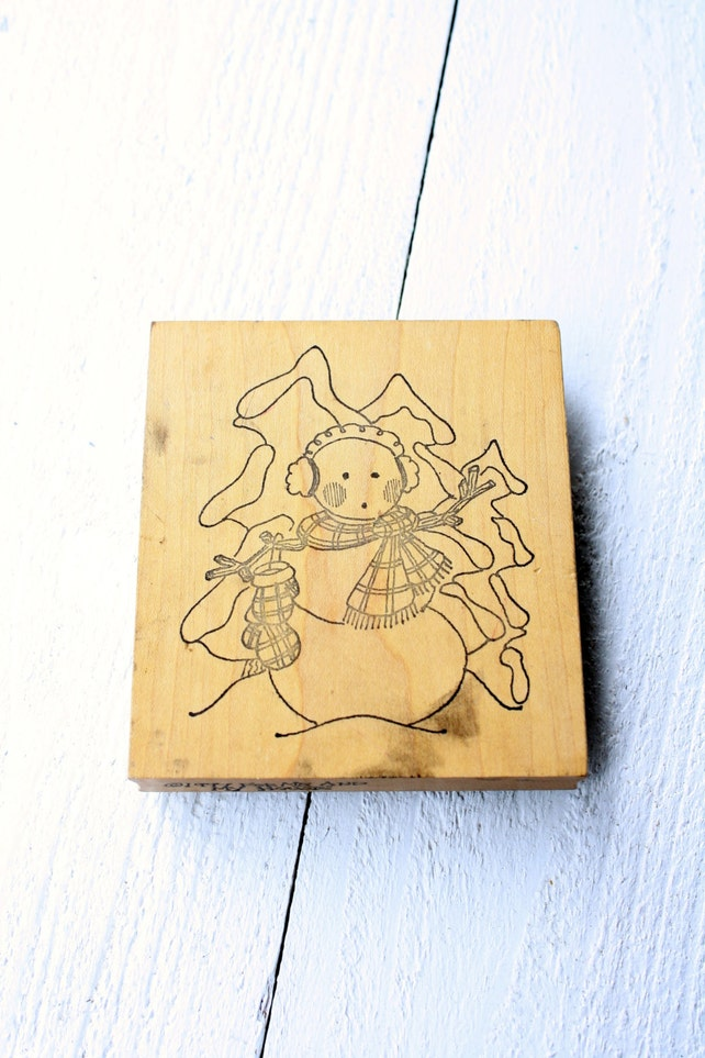 Large Snowman Rubber Stamp