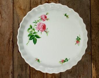 Vintage Christineholm Pink Rose Quiche/Tart DIsh