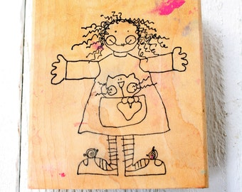 Vintage GIrl with Kitty Rubber Stamp